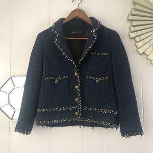 Zara Tweed Navy & Black Blazer S
